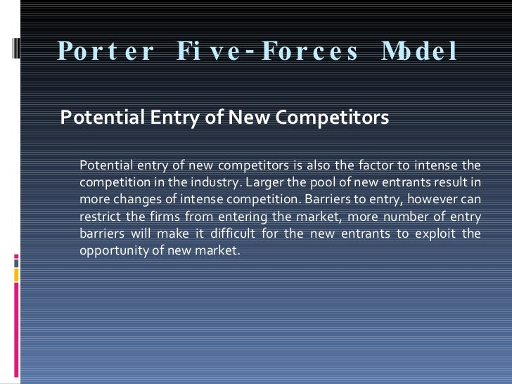 Por t e r Fi ve - For c e s M l                              ode  Potential Entry of New Competitors   Potential entry of ...