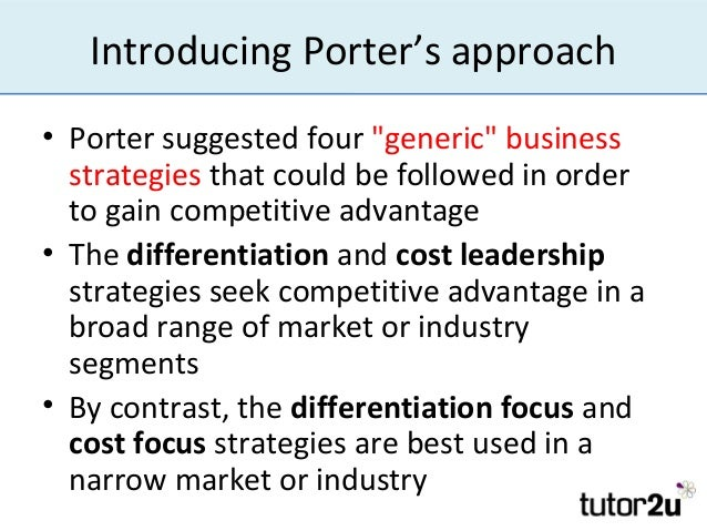 ikea porter s generic strategies Porter's generic strategies if the primary determinant of a firm's profitability is the attractiveness of the industry in which it operates, an important secondary.