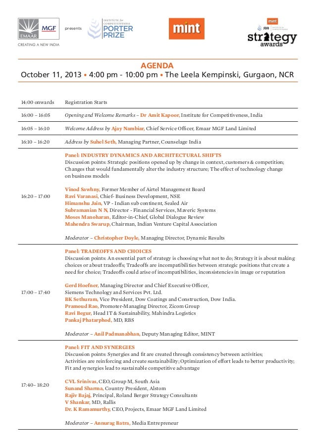 Agenda October 11, 2013 • 4:00 pm - 10:00 pm • The Leela Kempinski, Gurgaon, NCR presents 14:00 onwards Registration Start...