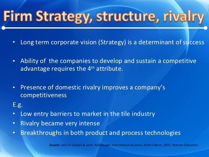 <ul><li>Long term corporate vision (Strategy) is a determinant of success </li></ul><ul><li>Ability of  the companies to d...