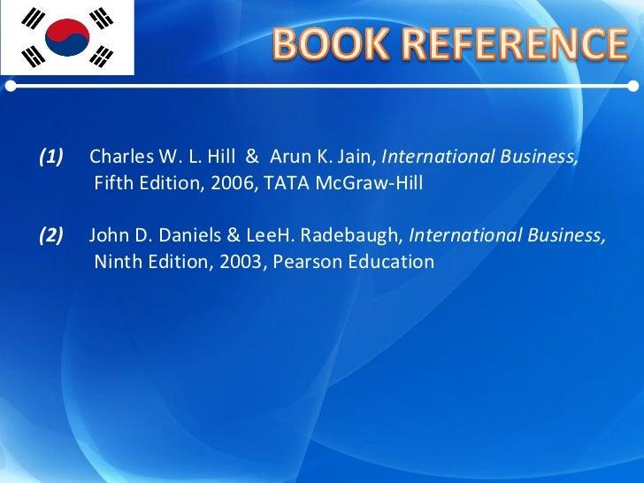 (1) Charles W. L. Hill  &  Arun K. Jain,  International Business,   Fifth Edition, 2006, TATA McGraw-Hill (2)  John D. Dan...