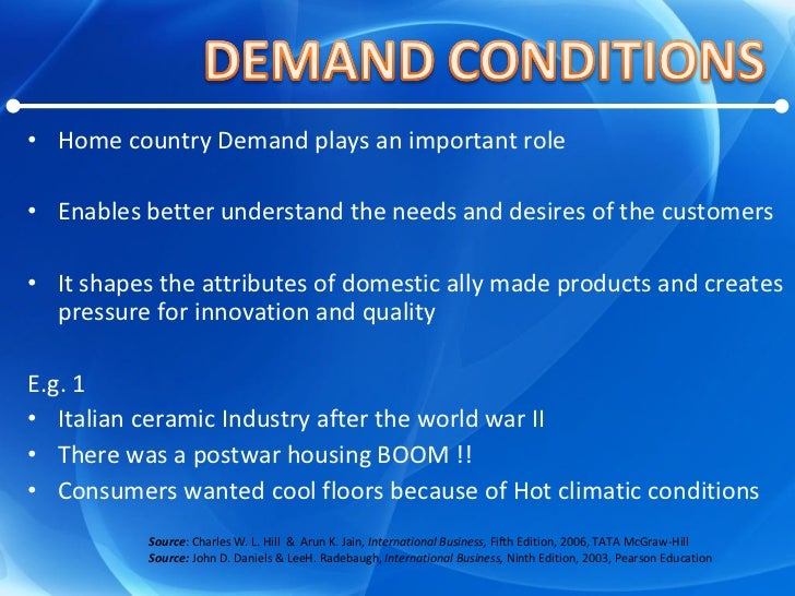 <ul><li>Home country Demand plays an important role </li></ul><ul><li>Enables better understand the needs and desires of t...