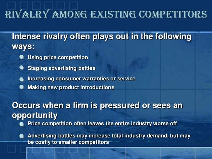 Rivalry Among Existing Competitors   Intense rivalry often plays out in the following  ways:      Using price competition ...