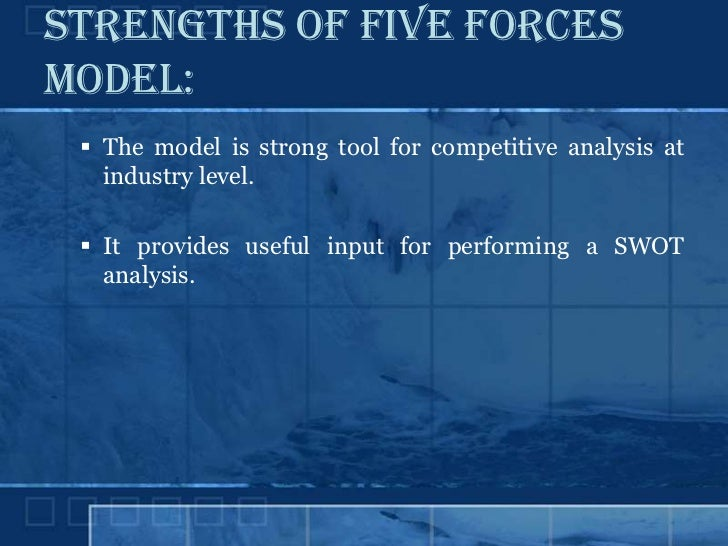 advantages and limitations of porter s five force model Porter's five forces assess the threats to the profitability of your strategy, by identifying who holds the balance of power in your market or situation.