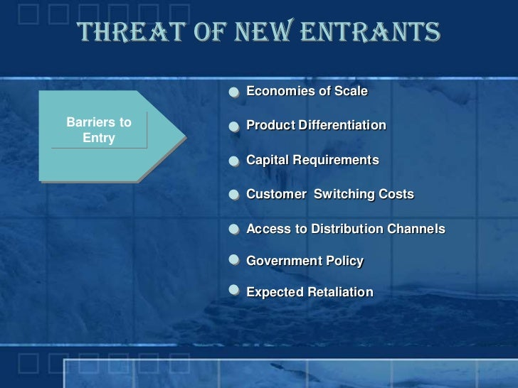 Threat of New Entrants               Economies of Scale  Barriers to   Product Differentiation   Entry               Capit...