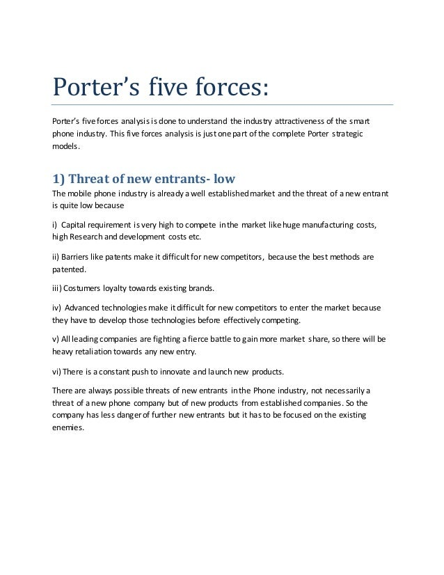Porters five forces essay