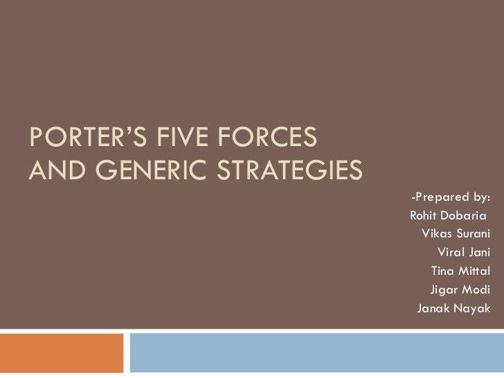 porters 5 generic strategies More information about the generic strategies is available in porter's 1985 book, competitive advantage  while porter's five forces is an effective and time-tested model, it has been criticized.
