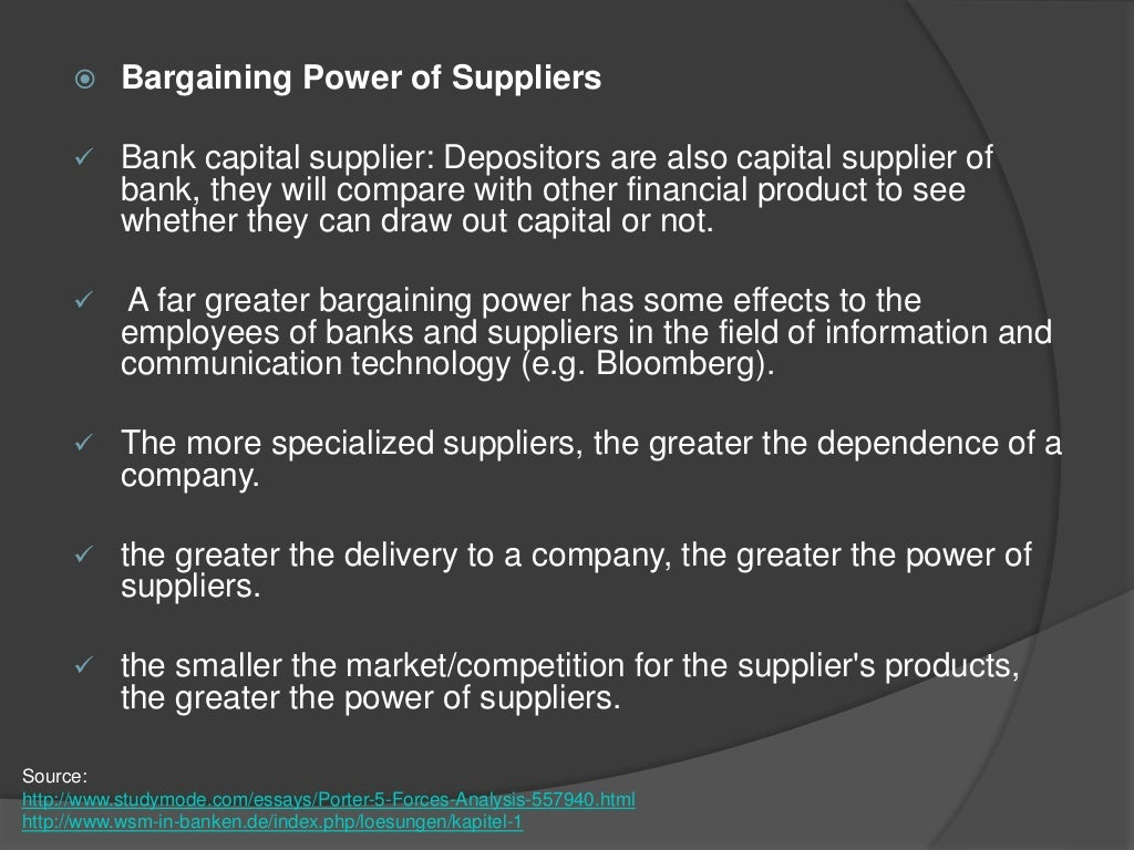 the bargaining power of supplier of The bargaining power of buyers according to the united nations (2008) the buyer market of cocoa products has increased along side the concentration of the manufacturing segment it must be noted that hotels have an abundance of chocolate producers to choose from.
