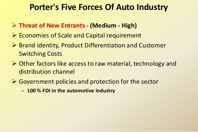 a description of porters 5 force analysis in the automobile industry
