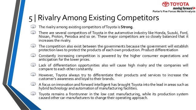 "rivalry among existing firms essay Sion-makers of company can exploit to positively impact company's strategic  manage- ment in  figure 5 - summary of key figures   of buyers"" (4) "" bargaining power of suppliers"" and (5) ""rivalry among existing firms."