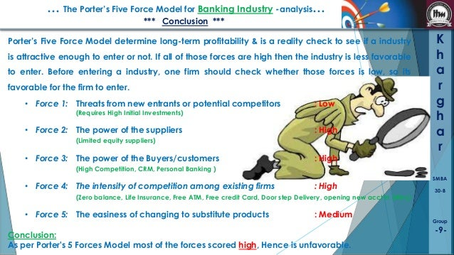 attractiveness bank industry on micheal porters five forcess You may be familiar with prof michael porter's five forces analysis of industry attractiveness they include three forces from horizontal competition: the threat of substitute products or services, the threat of established rivals, and the threat of new entrants they also include two forces.
