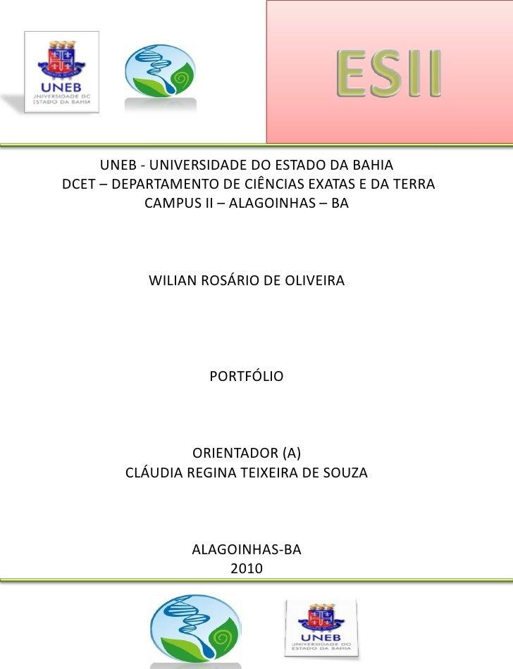 UNEB - UNIVERSIDADE DO ESTADO DA BAHIA DCET – DEPARTAMENTO DE CIÊNCIAS EXATAS E DA TERRA            CAMPUS II – ALAGOINHAS...