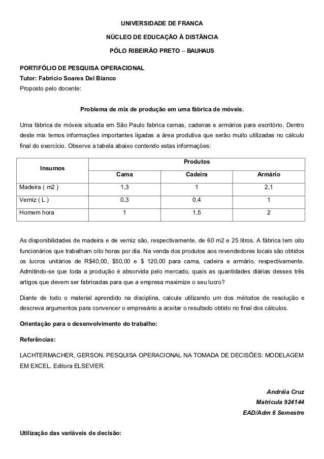 UNIVERSIDADE DE FRANCA                                NÚCLEO DE EDUCAÇÃO À DISTÂNCIA                                 PÓLO ...