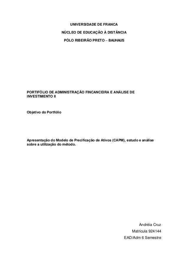 UNIVERSIDADE DE FRANCA                        NÚCLEO DE EDUCAÇÃO À DISTÂNCIA                         PÓLO RIBEIRÃO PRETO –...