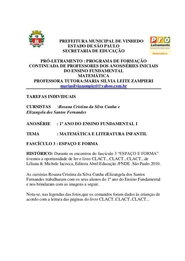 PREFEITURA MUNICIPAL DE VINHEDOESTADO DE SÃO PAULOSECRETARIA DE EDUCAÇÃOPRÓ-LETRAMENTO : PROGRAMA DE FORMAÇÃOCONTINUADA DE...