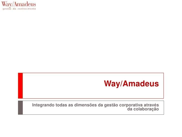 Way/Amadeus  Integrando todas as dimensões da gestão corporativa através                                             da co...