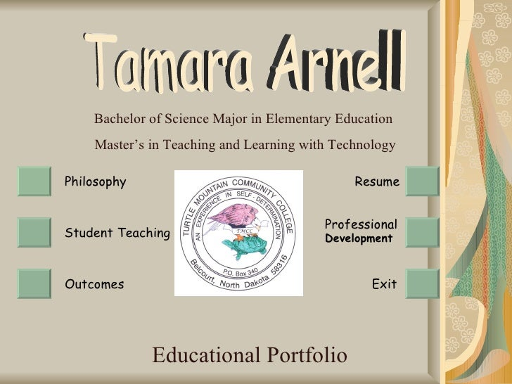 Educational Portfolio Bachelor of Science Major in Elementary Education  Master's in Teaching and Learning with Technology...