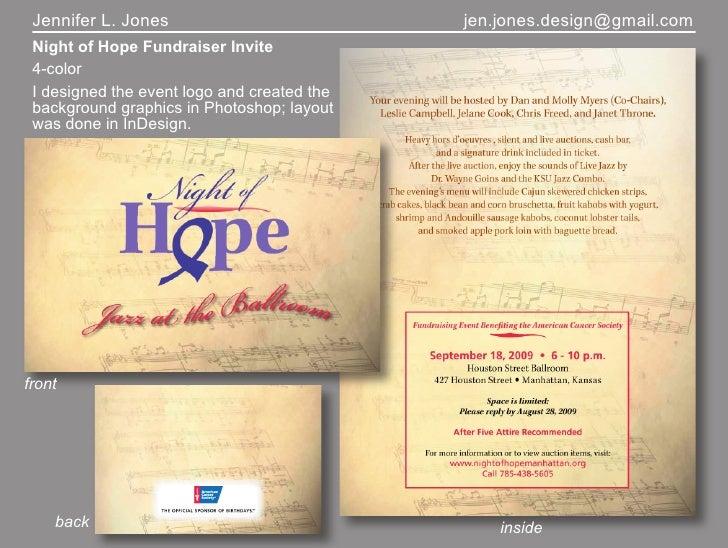Jennifer L. Jones                           jen.jones.design@gmail.com  Night of Hope Fundraiser Invite  4-color  I design...