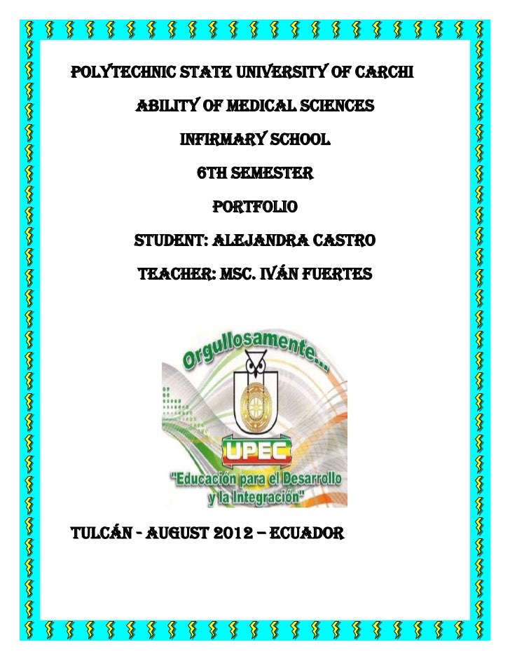 POLYTECHNIC STATE UNIVERSITY OF CARCHI       ABILITY OF MEDICAL SCIENCES            INFIRMARY SCHOOL             6th SEMES...