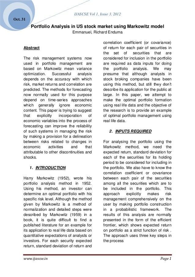 IJASCSE Vol 1, Issue 3, 2012Oct. 31          Portfolio Analysis in US stock market using Markowitz model                  ...