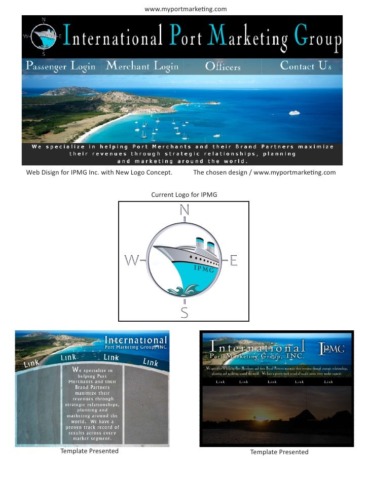 www.myportmarketing.com     Web Disign for IPMG Inc. with New Logo Concept.      The chosen design / www.myportmarketing.c...