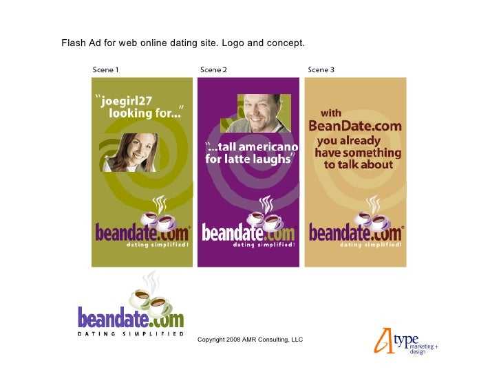 Flash Ad for web online dating site. Logo and concept.                                   Copyright 2008 AMR Consulting, LLC