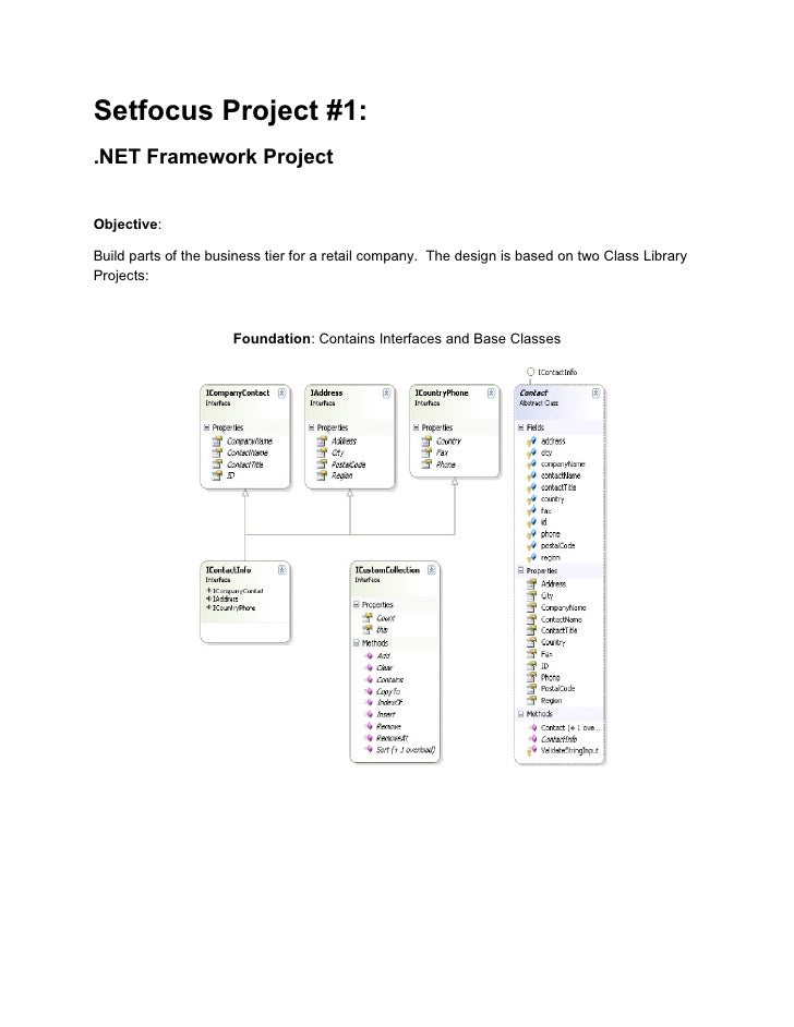 Setfocus Project #1: .NET Framework Project   Objective:  Build parts of the business tier for a retail company. The desig...