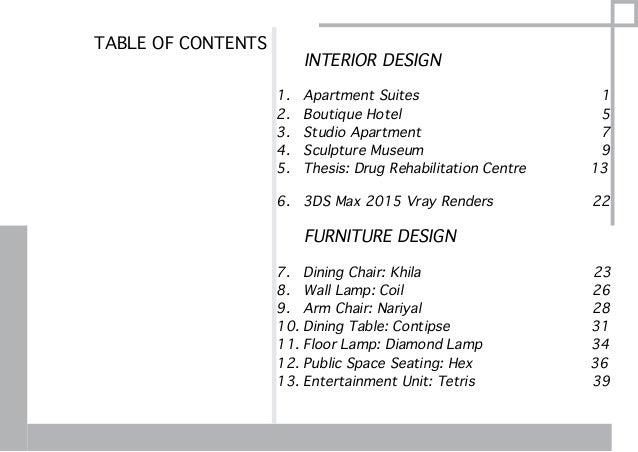 Interior and furniture design portfolio for Interior design content