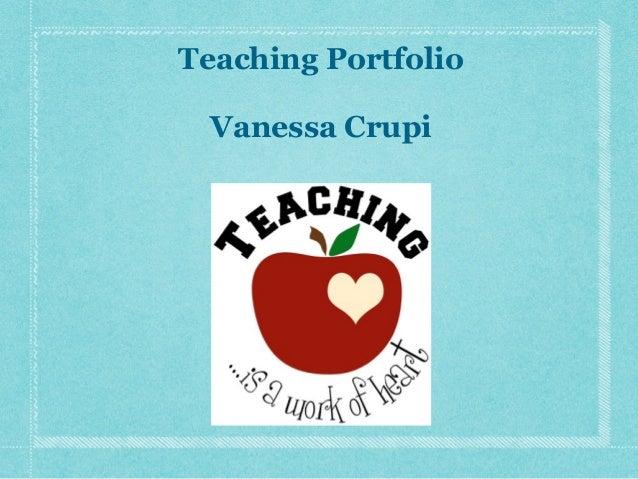 Teaching Portfolio Vanessa Crupi