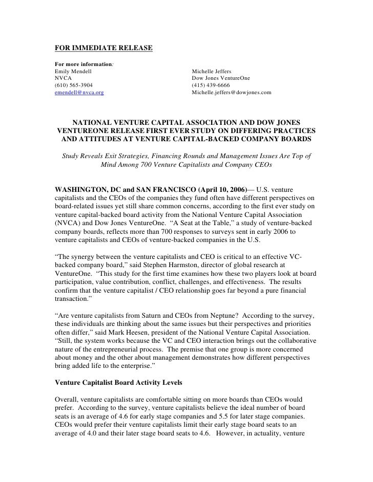FOR IMMEDIATE RELEASE  For more information: Emily Mendell                                  Michelle Jeffers NVCA         ...