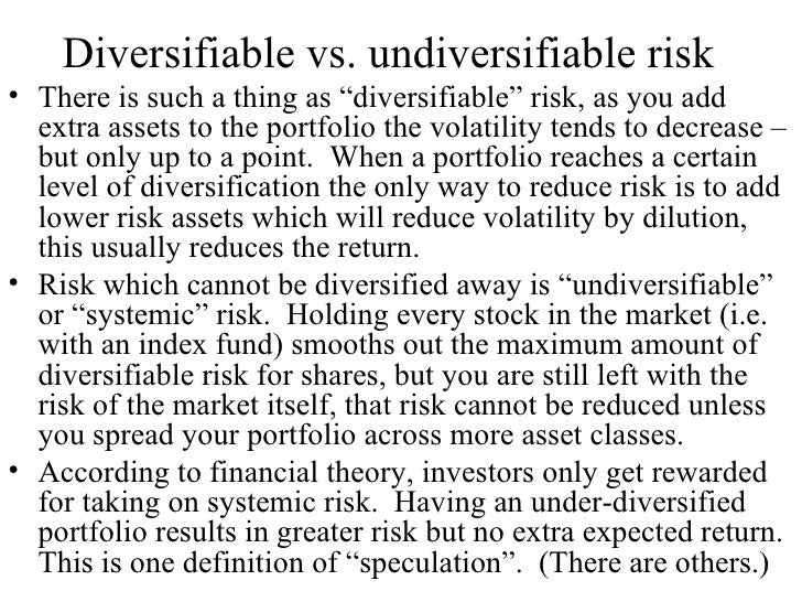 Essays diversifiable risks and undiversifiable