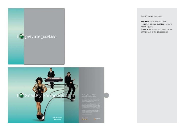client: sony ericsson  project: se W760 release – sneaky sound system private party invite (cmyk + metallic ink printed on...