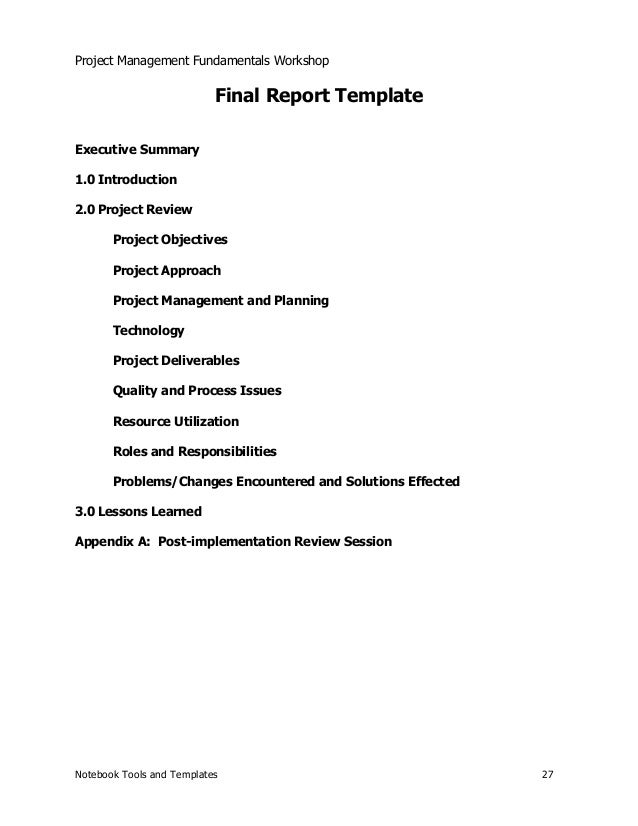 Notebook Tools and Templates 26; 27. Project Management Fundamentals Workshop Final Report ...