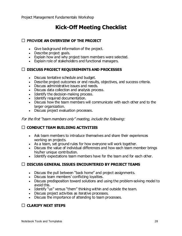 Project management sample session notebook tools and templates 27 28 project management fundamentals workshop kick off altavistaventures Choice Image