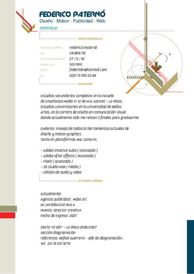 Diseño · Motion · Publicidad · Web PORTFOLIO DATOS PERSONALES FORMACIÓN ACTIVIDAD LABORAL Nombre y apellido: Federico Pate...