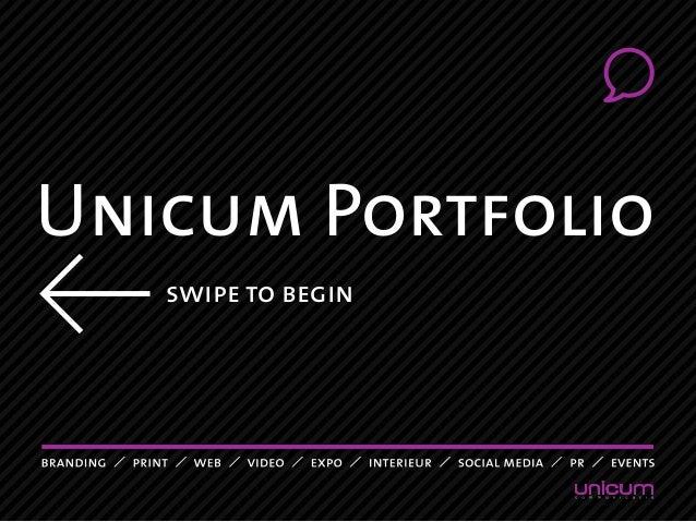 Unicum Portfolio swipe to begin