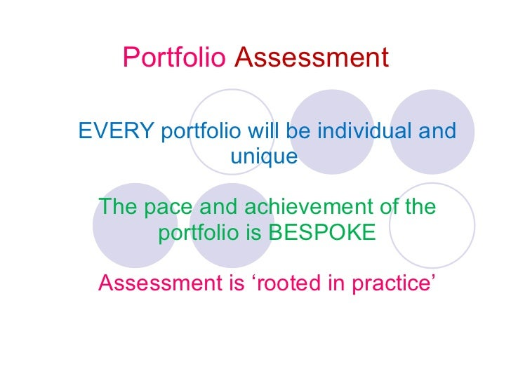 Portfolio  Assessment EVERY portfolio will be individual and unique  The pace and achievement of the portfolio is BESPOKE ...