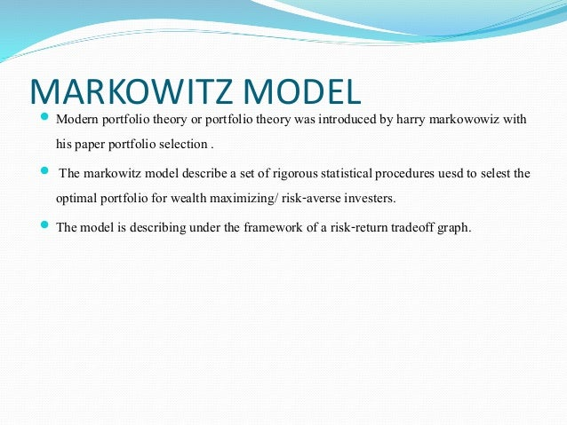 markowitz portfolio optimization Markowitz portfolio optimization harvard case study solution and analysis of reading the harvard case study: to have a complete understanding of the case, one should focus on case reading.