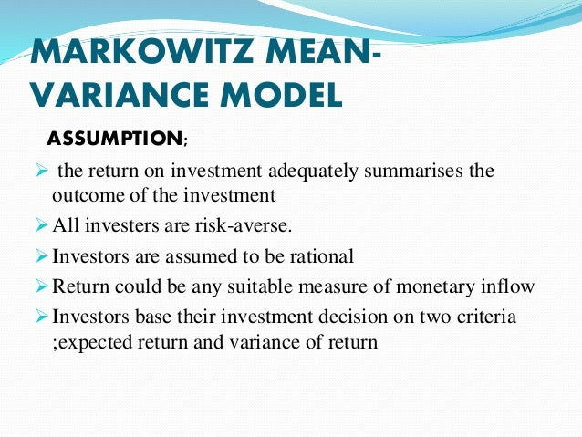 overview of portfolio theories Hence its simply the percentally change in the value from one time to another markowitz portfolio theory provides a method to analyse how.