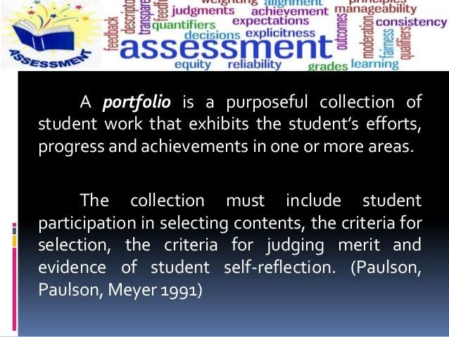 Portfolio Assessment Methods Slide 2