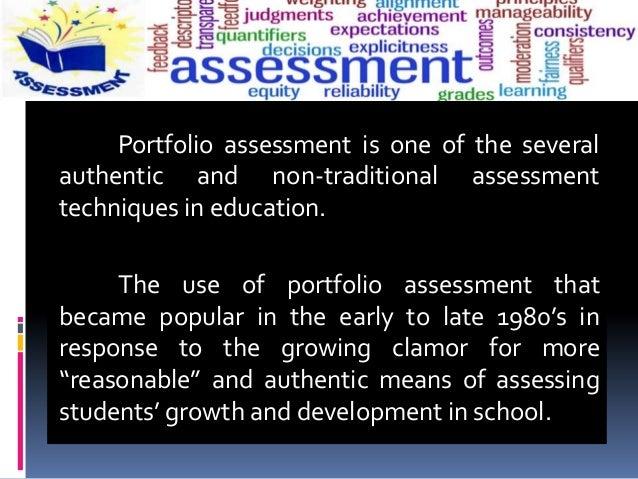 Portfolio Assessment Methods Slide 3
