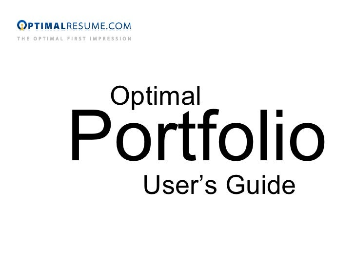 Optimal Portfolio User's Guide