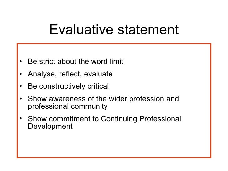 evaluative statement