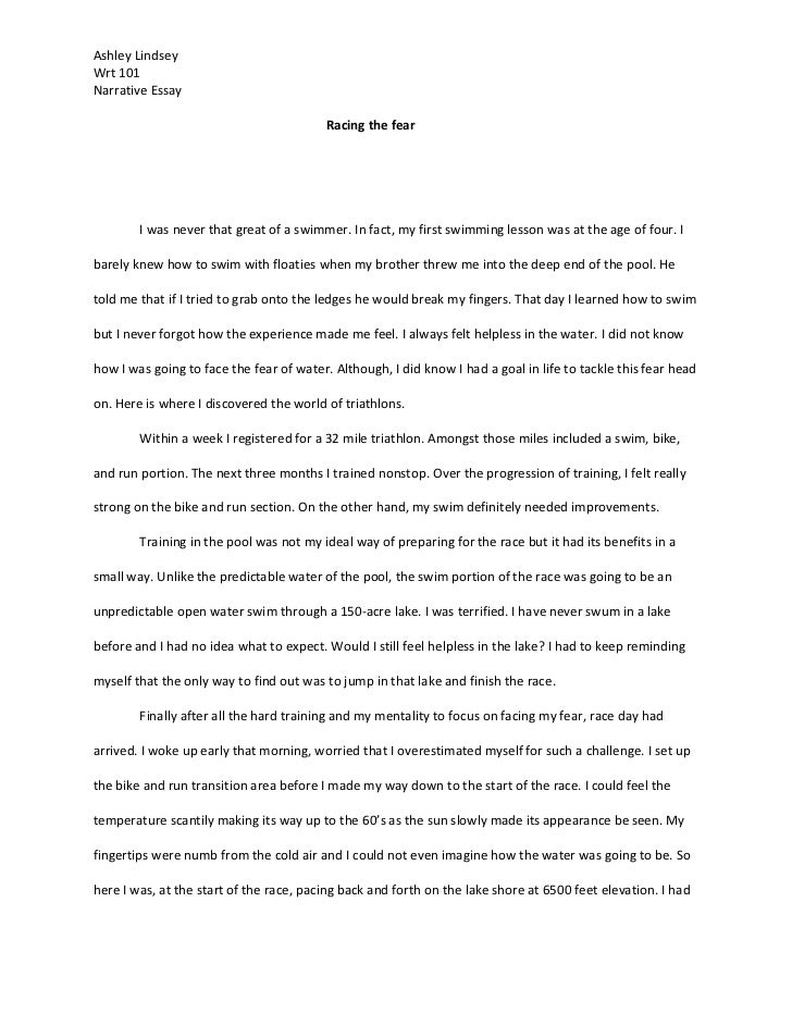 portfolio essay i ashley lindseywrt 101narrative essay racing the fear