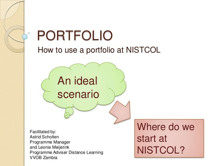 PORTFOLIO<br />How to use a portfolio at NISTCOL<br />An ideal scenario<br />Where do we start at NISTCOL?<br />Facilitate...