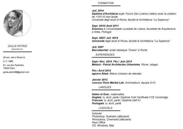 GIULIA PA TRIZI ARCHITECTE  26 ans,  née à Rome le 5.11.1988  91, rue des Pyrénées 75020 Paris  giulia. patrizi88@gmaiI.  ...