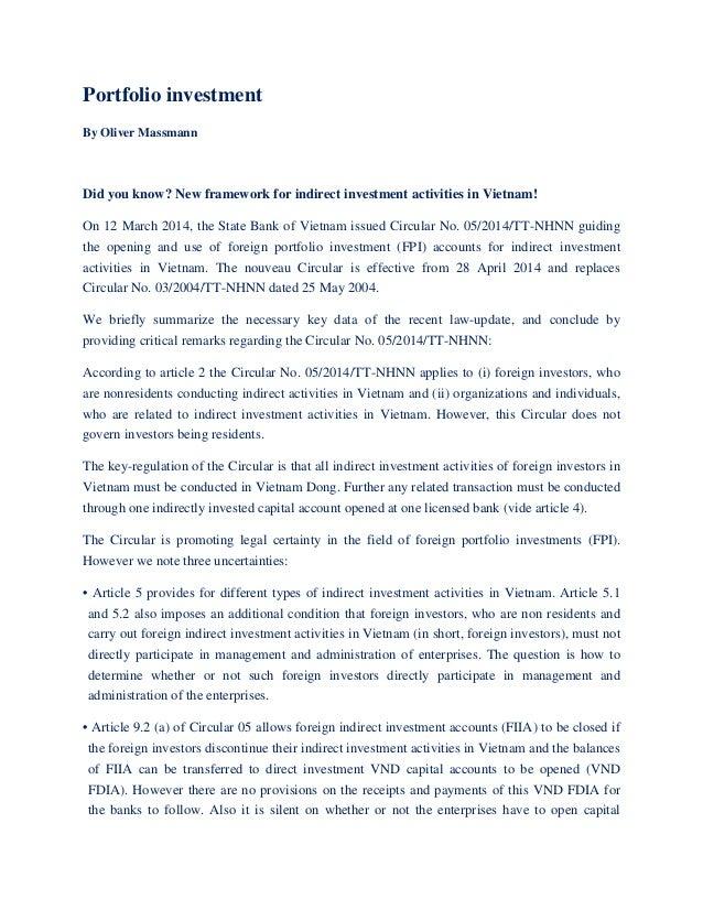 Vietnam Portfolio Investment In Vietnam