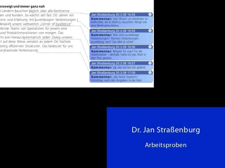 1Dr. Jan Straßenburg   Arbeitsproben