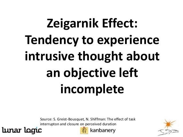 Zeigarnik Effect:Tendency to experienceintrusive thought aboutan objective leftincompleteSource: S. Greist-Bousquet, N. Sh...