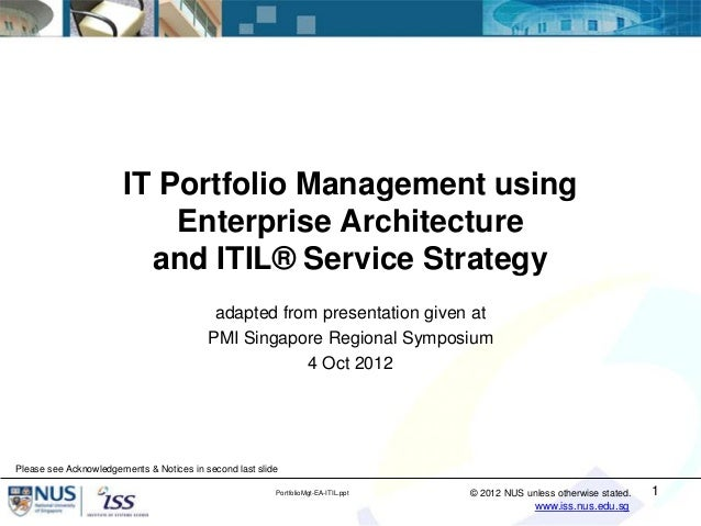 IT Portfolio Management using                           Enterprise Architecture                         and ITIL® Service ...